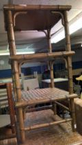 SIMILAR SMALLER SIMULATED BAMBOO AND RATTAN THREE TIER WOTNOT STAND