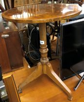 BURR YEW CROSSBANDED CIRCULAR TOPPED REGENCY STYLE TRIPOD TABLE