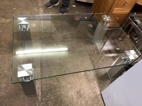 MATCHING CONTEMPORARY CHROME LEGGED LARGE COFFEE TABLE (DIMENSIONS-W.115CM,H.46CM,D.
