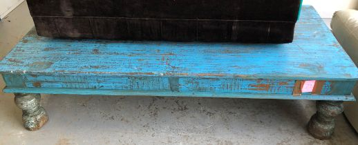 LIGHT BLUE PAINTED INDIAN STYLE LONG TABLE ON TURNED LEGS