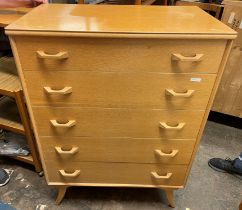 MID 20TH CENTURY BEEWISE LIGHT WOOD FIVE DRAWER CHEST