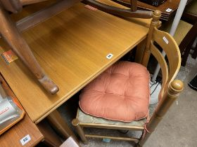 SQUARE SECTION DRAWER LEAF TABLE AND FOUR LADDER BACK CHAIRS
