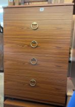 1970S TEAK EFFECT FIVE DRAWER CHEST AND MATCHING CHEST WITH LIFT UP LID