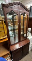 REPRODUCTION MAHOGANY GLAZED DISPLAY CABINET AND MATCHING MEDIA CABINET