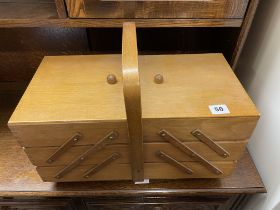 BEECH CANTILEVER NEEDLE WORK BOX AND CONTENTS