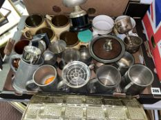 CARTON OF VARIOUS PEWTER AND METAL WARE GOBLETS, TANKARDS, ROSE BOWL, BRASS WASTE PAPER BIN,