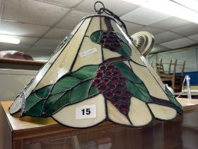 STAIN GLASS AND LEADED PENDANT LIGHT SHADE
