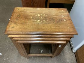 EASTERN HARD WOOD AND BRASS INLAID WIRE WORK TABLES