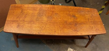 TEAK OBLONG COFFEE TABLE WITH MAGAZINE UNDERTIER