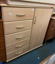 BEECH MOBILE COMBINATION CUPBOARD AND DRAWERS