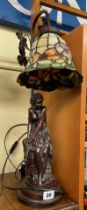 BRONZE EFFECT FEMALE FIGURAL LEADED GLASS TABLE LAMP
