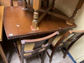 OAK DRAWER LEAF TABLE AND FOUR CHAIRS