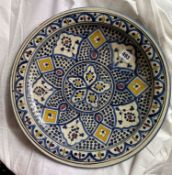 EASTERN FAIENCE SAFI WALL CHARGER (MINOR CHIP TO RIM 39CM DIAMETER