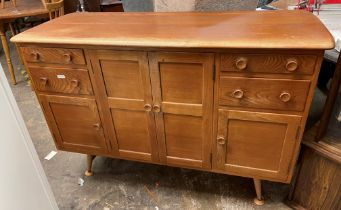 ERCOL LIGHT WOOD SIDEBOARD FITTED WITH SMALL DRAWERS