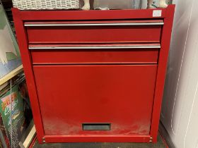 RED MECHANICS DESK TOP TOOL CHEST/CUPBOARD - CONTAINING WIRE CUTTERS, HEAVY DUTY RAW BOLTS,