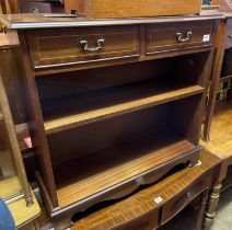 REPRODUCTION MAHOGANY CROSS BANDED DWARF BOOKCASE FITTED WITH TWO SHALLOW DRAWERS