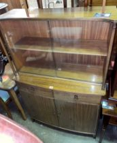 MAHOGANY GLAZED BOW FRONTED CABINET WITH GLASS SLIDING DOORS