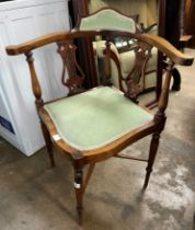 EDWARDIAN BEECH UPHOLSTERED LYRE BACKED CORNER ELBOW CHAIR