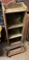SMALL OAK BOOKCASE AND CHIP CARVED BOOK STAND