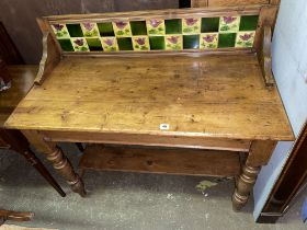 VICTORIAN PINE TILE BACKED GALLERY WASH STAND
