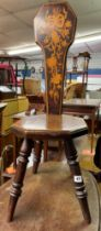 MARQUETRY INLAID TURNED LEG SPINNING CHAIR