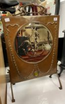 ARTS AND CRAFT COPPER MIRRORED FIRE SCREEN WITH OVAL CABOUCHON STONE BOSS