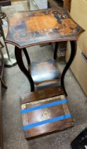 TRANSFER PRINTED SLANT FRONTED BOX AND EDWARDIAN MARQUETRY DECORATED SERPENTINE TOPPED OCCASIONAL