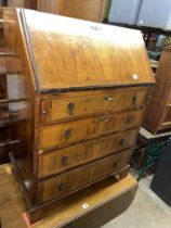 REPRODUCTION GEORGE I STYLE WALNUT BUREAU WITH FITTED INTERIOR H 98CM, W 70CM,