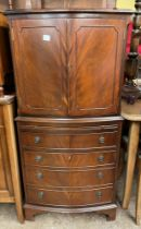 REPRODUCTION MAHOGANY CUPBOARD ON CHEST DRINKS CABINET WITH PULL OUT SLIDE
