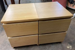 OAK EFFECT TWO DRAWER BEDSIDE CHEST AND A BEECH EFFECT CHEST
