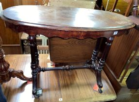 VICTORIAN MAHOGANY OVAL CENTRE TABLE ON TWIN FLUTED TURNED STRETCHER SUPPORTS