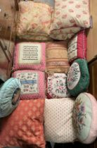 GOOD SELECTION OF FABRIC TASSELED SCATTER CUSHIONS