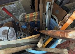 ROPE HANDLED BUCKET OF MIXED TOOLS - SAWS, SPIRIT LEVELS, HAMMERS,