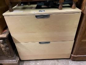CONTEMPORARY BEECH HOME OFFICE COMBINATION LOCK TWO DRAWER CHEST