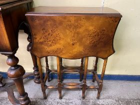 REPRODUCTION BURR WOOD BUTTERFLY TYPE DROP FLAP SMALL GATE LEG TABLE WIDTH 51CM APPROX