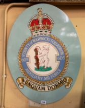 OVAL WOODEN PAINTED SQUADRON PLAQUE COUNTY OF WARWICK 605 AUXILIARY AIR FORCE 60CM X 46CM APPROX