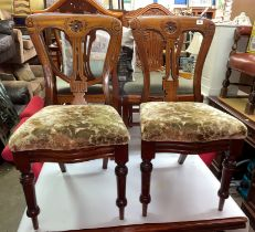 SET OF FOUR VICTORIAN WAISTED BACK UPHOLSTERED DINING CHAIRS