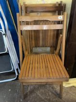 FOUR VINTAGE SLATTED FOLDING CONCERT CHAIRS