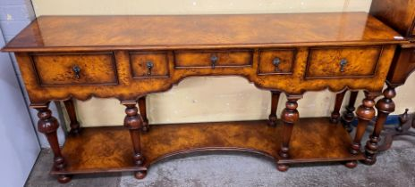 REPRODUCTION BURR WOOD WOOD WILLIAM AND MARY STYLE LONG DRESSER BASE FITTED WITH FRIEZE DRAWERS