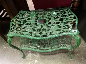 GREEN WROUGHT IRON HERON DESIGN ETAGERE TABLE