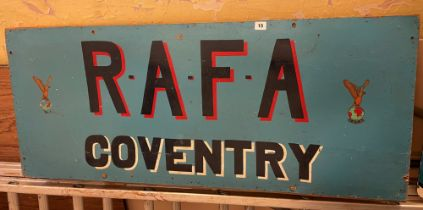 PLYBOARD RAFA COVENTRY SIGN AND RAF BATTLE OF BRITAIN WINGS APPEAL SIGNS