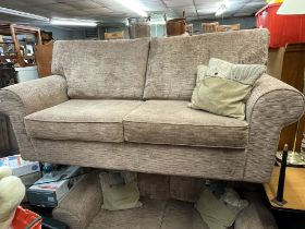 LIGHT BROWN RIBBED CHENILLE THREE PIECE SUITE AND STORAGE FOOTSTOOL