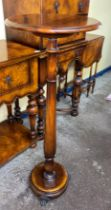 MAHOGANY TORCHERE/CANDLE STAND ON RING TURN COLUMN ON CIRCULAR BASE WITH GILT METAL PAW FEET 40CM