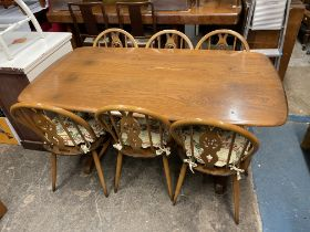 ERCOL ELM OBLONG DINING TABLE WITH SIX PRINCE OF WALES PLUME BACK CHAIRS