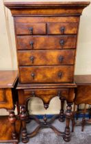 REPRODUCTION BURR WOOD WILLIAM AND MARY STYLE CHEST ON STAND HEIGHT 152CM X 67CM X 42CM APPROX