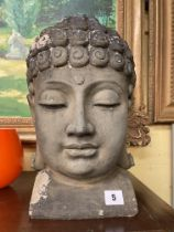 RESIN HEAD OF A BUDDHA 36CM HEIGHT APPROX