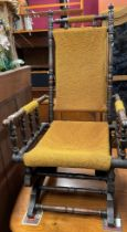 EDWARDIAN COLONIAL STYLE ROCKING ARMCHAIR