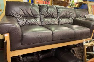 PAIR OF BROWN SOFT LEATHER OAK FRAMED THREE AND TWO SEATER SOFAS