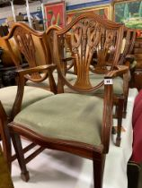 SET OF SIX REPRODUCTION HEPPLEWHITE DESIGN DINING CHAIRS INCLUDING TWO ARMCHAIRS