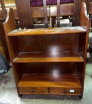 MAHOGANY HANGING SHELVES FITTED WITH TWO SHALLOW DRAWERS